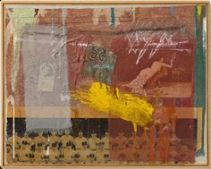 Robert Rauschenberg - 1955, Bantam. Combine: oil, paper, printed reproductions, cardboard, fabric and pencil on canvas (29.5 x 37.1 cm)