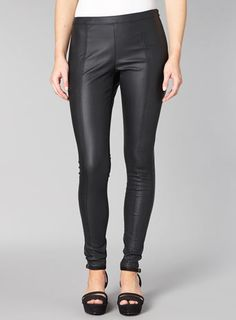 Black leather look skinny