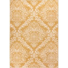 Well Woven Bright Trendy Twist Damask Linen Gold Air Twisted Polypropylene Rug (7'10 x 10'6)