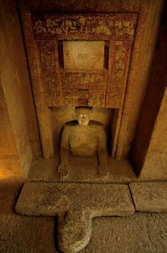 Egypt's Old Kingdom; Tomb of Idu, Giza; Egypt, mastaba, false door, Idu's hands outstreched to receive offerings