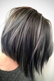 Image result for gray highlights in dark brown hair