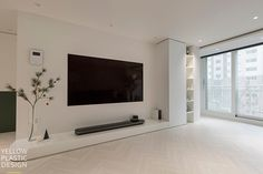 Modern in Japan. Living Room Wall Units, Living Room Tv Unit Designs, Living Room Mirrors, Home Living Room, Living Room Decor, Painel Tv Sala Grande, Home Room Design, House Design, House Rooms
