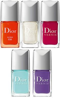 Dior Spotlight On Dior Collection Spring 2013 (exclusively at Saks Fifth Avenue): New&Limited Edition: Aloha – orange, Cristal – shimmering white Mayan Red – crimson, Nymphea – aqua, Ultra Violet – purple.