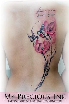 Watercolor abstract tattoo flowers and birds