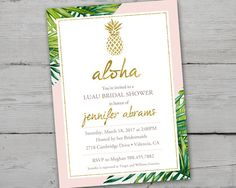 Beautiful green palm leaves and soft blush pink surround this lovely Gold and Pink PRINTABLE Bridal Shower Invitation. This light pink colored Bridal Shower Invitation would work just as well for a birthday, luau party or other event when a sophisticated luau is the theme! This invitation can be customized with other colors if needed. Print as many as you would like for one low price! This is a 5 x 7 PRINT YOURSELF Invitation LIsting. DIGITAL FILE ONLY. Format: 5x7 300 DPI JPEG ORDER…
