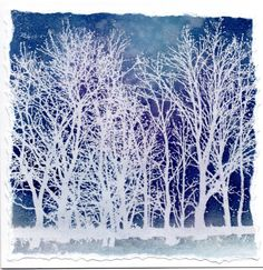 """By Wendy Kadzidlo. Stamp """"Tree Line"""" (Impression Obsession) in VersaMark; heat emboss with white powder. Apply blue and lilac background with spritzed ink or by tapping on watercolor powders and spritzing with water."""