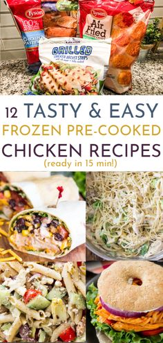 Dinner time made easy is every mom's dream! Try these 12 chicken recipes using frozen pre-cooked chicken so you can de-stress and get dinner done fast! Frozen Chicken Patty Recipe, Chicken Patty Recipes, Frozen Chicken Recipes, Cooked Chicken Recipes, Chicken Recepies, Chicken Meals, Chicken Breast Strips Recipes, Grilled Chicken Breast Recipes, Recipe For Grilled Chicken Strips