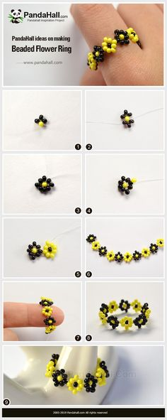 PandaHall Ring tutorial - The tutorial of making a ring with seed beads. You can buy all the materials on our website. Diy Beaded Rings, Diy Rings, Beaded Bracelets, Ring Tutorial, Bracelet Tutorial, Beaded Jewelry Patterns, Beading Patterns, Bead Crafts, Jewelry Crafts