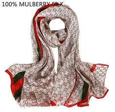 Novels-wear 2016new 100%mulberry Silk Scarf Wrap Luxury Brand Geometric Logo Print light coffee with green and red stripe. brand design logo geometric light coffee with green and red stripe. four seasons suitable, super soft and drapery. 100% mulberry silk paj. easy to match whatever coat or dress in same color or black, white etc. size: 180cm (74inches) in length 110cm (44inches) in width.
