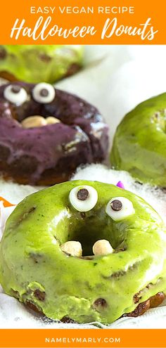 Are you a fan of tasty Halloween treats? If yes, this vegan Halloween Monster Donuts Recipe is for you! Look at those googly eyes and cashew fangs! A sure hit to kids and kids at heart! #monsterdonuts #halloweendonuts #halloween #vegan #namelymarly Vegan Sandwich Recipes, Best Vegan Recipes, Vegan Dessert Recipes, Donut Recipes, Vegan Breakfast Recipes, Halloween Donuts, Halloween Treats, Googly Eyes, Vegan Dishes