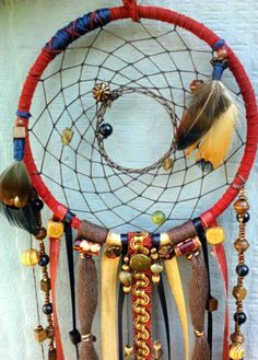 Small Handmade Sedona Dreamcatcher  with blue goldstone and jade