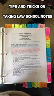 Taking On Law School: Tips on how to take notes in Law School