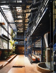 Lina Bo Bardi - Officina Theater, São Paulo 1991. The renovation of the historic (and previously burned) office building to a theater is designed almost entirely out of painted scaffolding, referencing the construction of the sets housed in the venue.