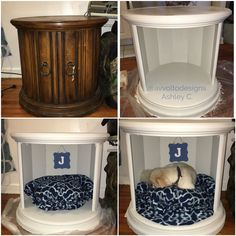 """I turned this $8 thrift store end table into a combination dog bed/end table. I removed the doors and filled in the screw holes with wood filler. I then lightly sanded the piece and primed with Zinsser 1-2-3 primer. The paint is Martha Stewart matte chalk finish paint in """"smoke"""". I made the no-sew bed with fleece and cluster filling from the fabric store. The total project cost me $55! #diy #dogbed #thriftstore #dogcrate #dog #pet"""