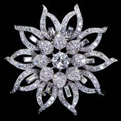 Van Cleef & Arpels Diamond Platinum Flower Form Brooch