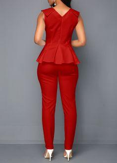 V Neck Sleeveless Peplum Waist Jumpsuit African Dresses For Kids, Latest African Fashion Dresses, African Wear, Fashion Pants, Fashion Outfits, Womens Fashion, Work Attire, Jumpsuits For Women, Elegant Dresses
