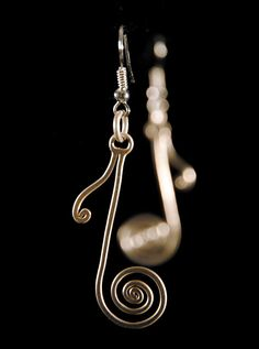 NOTE  earrings handmade silver wire wrapped by offpeter on Etsy, $20.00