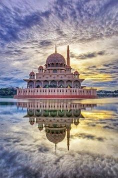 Putrajaya - Malaysia. Stunning, cloudy sky, water reflections, Architechture, beautiful, panorama, landscape, Ocean view, photo.