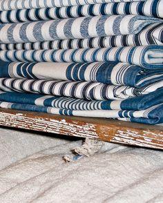 vintage blue ticking fabrics . . .