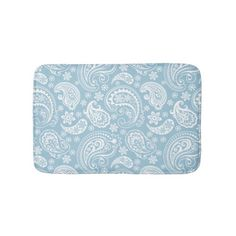 White & Baby Blue Vintage Paisley Bathroom Mat