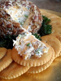 Dill, Cheddar & Green Onion Cheese Ball #Recipe... Makes 1 small cheese ball (slightly larger than those sold in the supermarket). Made with 1 (8-oz) package softened cream cheese, 2 finely chopped green onions, 1 cup shredded mild cheddar cheese, 1 t fresh, chopped parsley (optional), ½ t dill weed, ¼ t garlic powder and ½ t salt. 1 cup chopped pecans