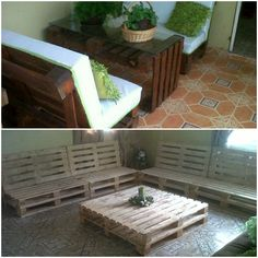 My First Pallet Projects #CoffeeTable, #PalletFurniture, #PalletSofa, #RepuposedPallet