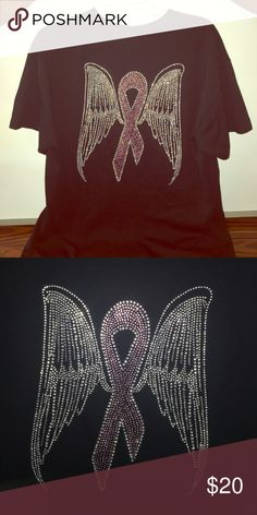 NEW Rhinestone Breast Cancer shirt NEW Rhinestone breast cancer shirt with a big beautiful pink ribbon with wings on the back of the shirt. Size adult large, Gildan DryBlend brand. This shirt is 50% cotton and 50% Polyester Preshrunk material so it will not shrink. True to size. Gildan Tops Tees - Short Sleeve