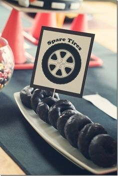 """Race Car Birthday Party - Spare """"Tire"""" Donuts #forthekids #carlovers #futurehoseltoncustomers"""