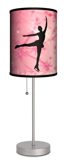"""Sports Ice Skating 20"""" H Table Lamp with Drum Shade"""