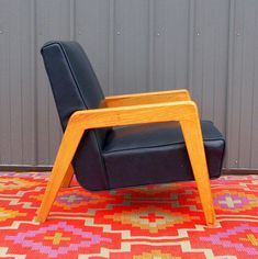 VINTAGE DANISH MODERN Lounge Chair Mid Century Modern Furniture - Navy Blue Leather Solid Wood Frame - Modernism - from ACES FINDS VINTAGE - MID CENTURY.