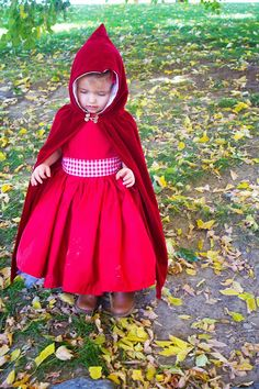 Using only one yard of fabric DIY: Little Red Riding Hood Costume/Cloak 2T-4T |do it yourself divas
