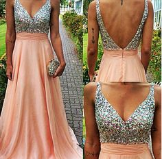 A-Line Blush Pink V-Neck Spaghetti Strap Long Chiffon Skirt Formal Dresses ,Crystal Beaded Prom Dresses 2015
