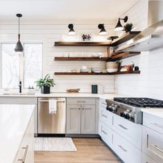 10 Noble Clever Tips: Open Kitchen Remodel Ideas kitchen remodel flooring stove.Kitchen Remodel Before And After Diy. Floating Shelves Kitchen, Kitchen Shelves, Kitchen Dining, Kitchen Decor, Open Shelves, Glass Shelves, Diy Kitchen, Kitchens With Open Shelving, Shiplap In Kitchen