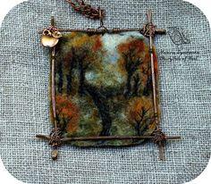 The landscape pendant Autumn  Felted pendants by MarinaDyachenko