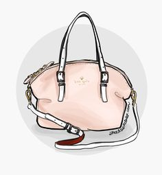 My fashion illustration of my  favorite Kate Spade handbag, the Waverly Street Drew bag.  www.sketchbookcloset.com