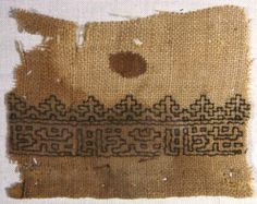 Egypt Border, 13th/14th century Linen, plain weave; embroidered with silk floss in double running stitch