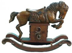 Large Wood Carved Rocking Horse LOVE!