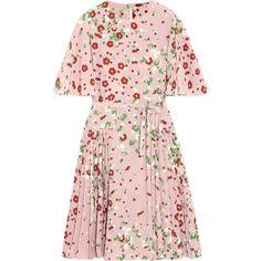 Valentino Floral-print silk crepe de chine dress found on Polyvore featuring dresses, vestidos, flower printed dress, multi color dress, floral dresses, pink dress and colorful dresses