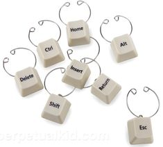Keyboard keys wine charms perfect for the tech lover.