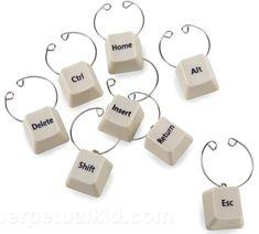 Keyboard keys wine charms
