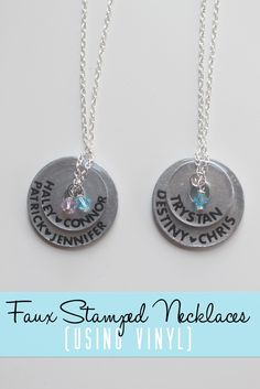 Faux Stamped Necklaces (Using Vinyl)