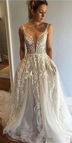 A-Line Deep V-Neck Court Train Ivory Tulle Wedding