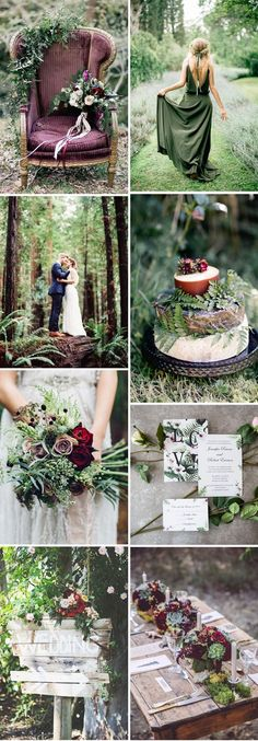 marsala and greenery forest wedding color ideas