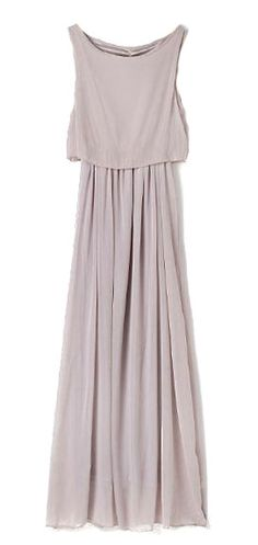Grey Bohemia Pleated Princess Chiffon Maxi Dress.  SO dreamy