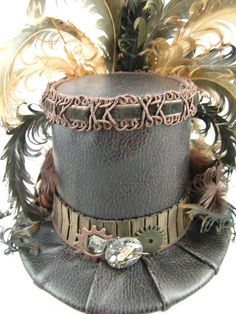 Mini Top Hat  Brown Gears and Time Travel by FirstSightCreations, $70.00