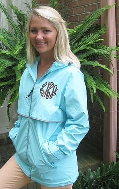 perfect waterproof rain jacket miss lucy's monograms http://misslucysmonograms.com/wind-waterproof-monogrammed-rain-jacket-ladies-6-colors/