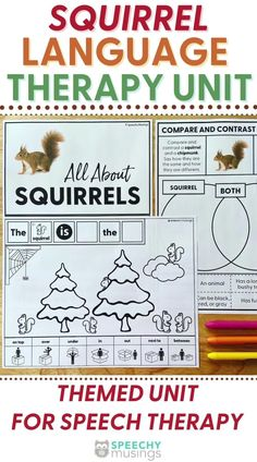 """Have you ever wished you had a bundle of themed Speechy Musings resources at the ready for certain themes or times of year? Look no further! This themed language therapy unit includes a wide variety of materials and resources for your students with language goals using a fun and relatable """"squirrels"""" theme.Targets core vocabulary, basic concepts, describing, categories, and more. #speechtherapy #squirrelsthemedactivities #themedspeechtherapyunit #basicconceptsforspeechthearpy Sensory Activities For Autism, Speech Therapy Activities, Teaching Autistic Children, Compare And Contrast, Squirrels, Homework, Vocabulary, Kindergarten, Core"""