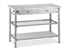 Williams-Sonoma Home - Modern Luxe 2016 - Modular Kitchen Island with Marble Top, Polished Nickel Marble Top Kitchen Island, Kitchen Island Cart, Kitchen Tops, Kitchen Islands, Kitchen Carts, Kitchen Storage, Open Kitchen, Hidden Kitchen, Ranch Kitchen