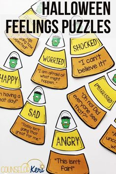 Halloween activity for elementary school counseling: feelings puzzles! Students match feeling faces with emotions words and statements. Great for individual counseling, small group counseling, and classroom guidance lessons! Counseling Activities, Therapy Activities, Group Counseling, Therapy Ideas, Counseling Office, Therapy Tools, Play Therapy, Emotions Activities, Therapy Games