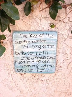 Handcrafted cement green/white square wall plaque with poem.  Garden/yard art  #Handcrafted